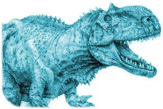 Rajasaurus, dinosaure retrouvé au milieu des trapps du Deccan, dessiné par Todd Marshall.