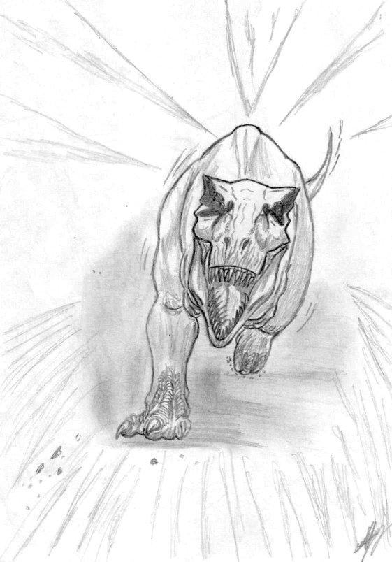Dinosaures et oiseaux re tyrannosaurus rex plumes - Dessin dinosaure t rex ...